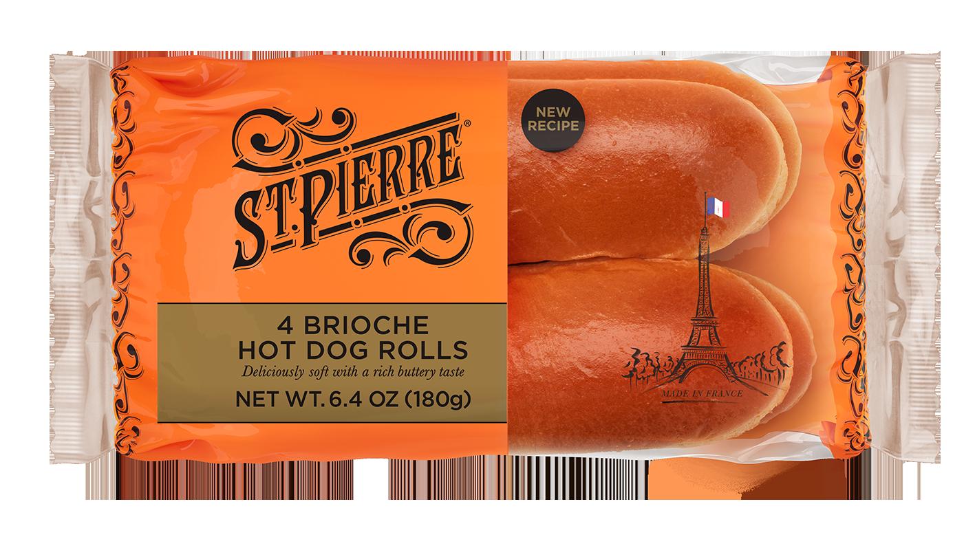 St Pierre 4 Brioche Hot Dog Rolls